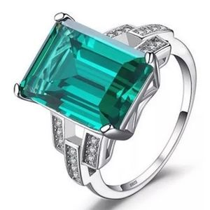 5.9Ct NANO GREEN EMERALD ENGAGEMENT COCKTAILE RING